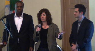 Rev. Eric Dobson, Lori Braunstein, and Emilio Panasci wrap up the seminar