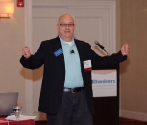 Steve Lubetkin speaking at the NJBankers marketing conference