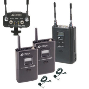 Azden 330ULT features two lavalier microphones feeding a receiver attached to the video camera.