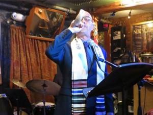 Rabbi Blane blowing the shofar at Jazz High Holy Days service on Rosh Hashana 2012