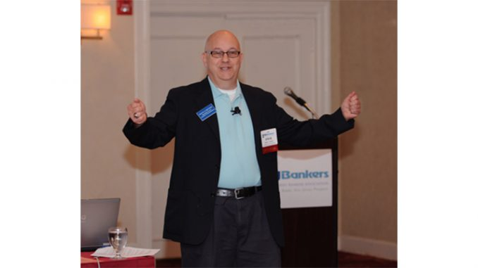 Steve Lubetkin speaking at the NJBankers marketing conference. Notice how the lavalier microphone's wire is concealed under Steve's shirt.