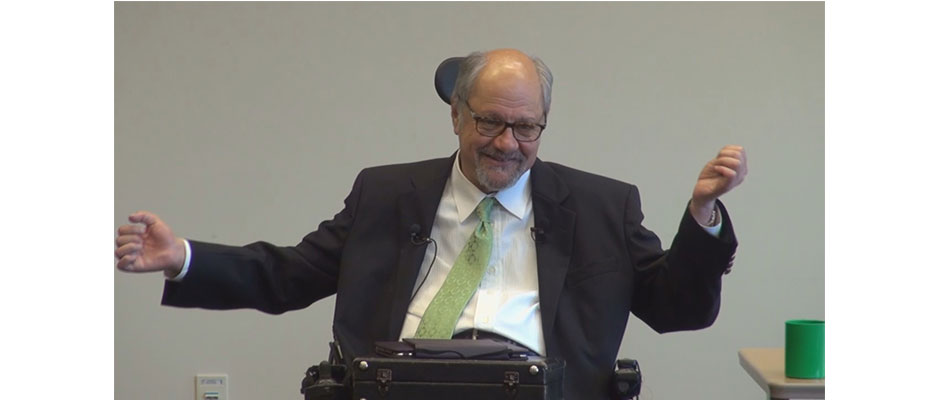 "Dr. Dan Gottlieb makes a point during his May 1, 2014 ""Schwartz Rounds"" lecture at Virtua Health System, Voorhees, NJ, about the experience of receiving care from healthcare professionals."