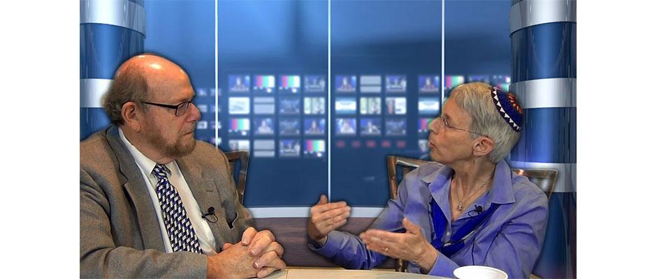 Rabbi Richard Address, left, interviews Rabbi Sue Levi Elwell on Conversations, his new web-based TV program, being produced in Lubetkin Media Companies' Cherry Hill studios.