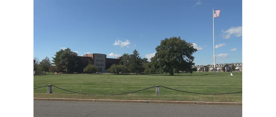 Russel Hall, former garrison command headquarters at Fort Monmouth, NJ, will be new corporate headquarters for construction company, JF Kiely Group, of Red Bank. StateBroadcastNews.com/SteveLubetkin photo