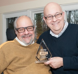 "The Lubetkin Media Companies was recognized recently for its web design services, with a Gold ASTRA Award from the New Jersey Communications, Advertising, and Marketing Association (NJCAMA) in the ""Web design, budget under $15,000"" category, for the website it created for Dr. Dan Gottlieb, nationally known author and host of the WHYY-FM radio show, ""Voices in the Family."" Gottlieb, left, posed with the award and LMC managing partner Steve Lubetkin."
