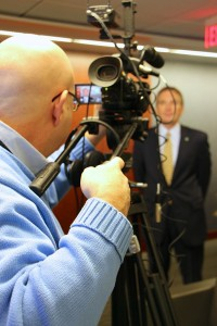 LMC's chief videographer Steve Lubetkin lining up the shot with Investors Bank SVP John Nietzel.