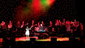 Vanessa XXX of Investors Bank performing with Tim McLoone's Holiday Express band at the 2014 benefit concert at the NJPAC in Newark, NJ.