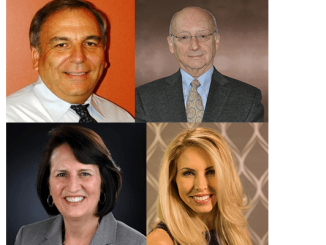 Speakers at the April 28 NJCAMA event at D&R Greenway are, clockwise from top left: Rocky Romeo, Frank Gomez, Laura Virili, and Julia Zauner