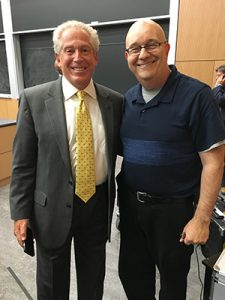 Mickey H. Osterreicher, General Counsel, National Press Photographers Association, poses with @PodcastSteve after the NPPA's DNC Seminar in Philadelphia. (Shelly Lubetkin Photo)