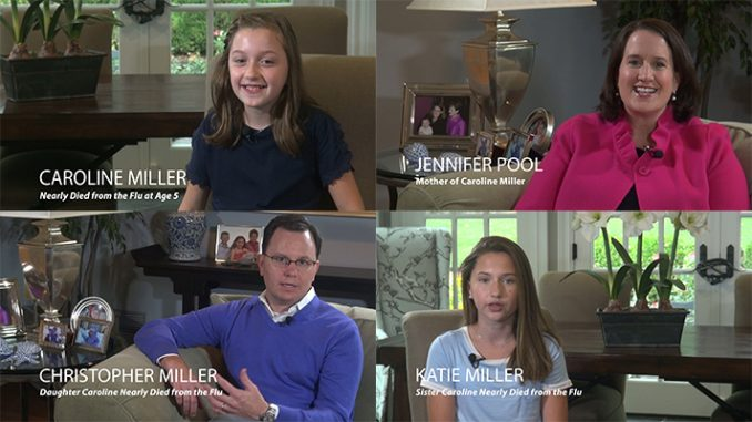 Members of the Pool/Miller family, who participated in the Families Fighting Flu videos. Clockwise from upper left, Caroline Miller; her mom, Jennifer Pool; sister Katie Miller; and dad Chris Miller