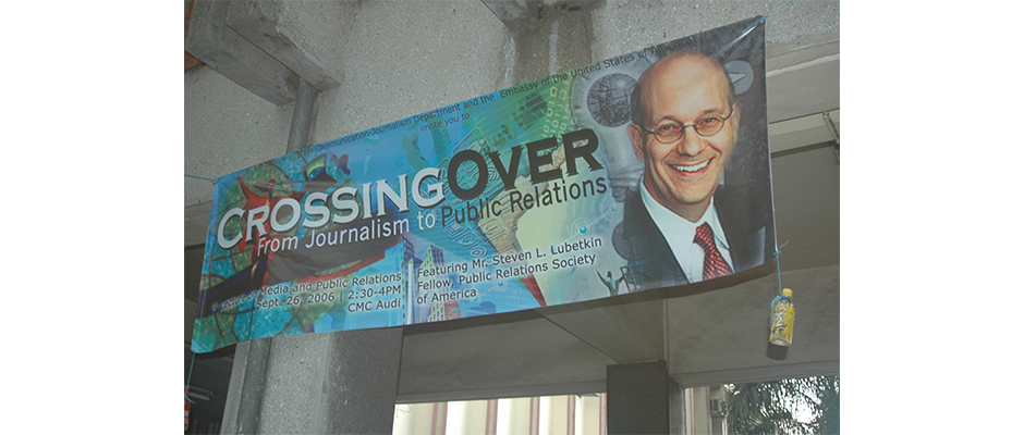 Banner promoting Steve's appearance at the University of the Philippines Diliman Campus