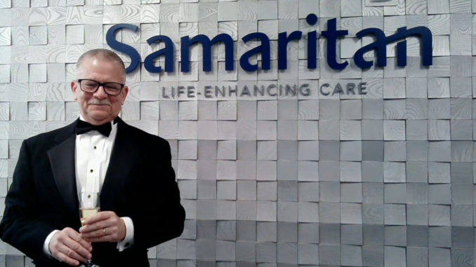 Chris Rollins, Chief Development Officer of Samaritan Life-Enhancing Care, acting as live host for the healthcare organization's first-ever virtual benefit gala Feb. 6.