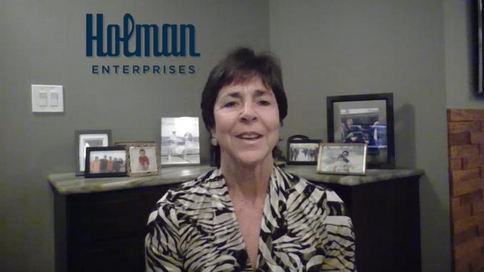 Mindy Holman, chairman of Holman Enterprises, the presenting sponsor for the Samaritan Life-Enhancing Care virtual gala, makes welcoming remarks during the livestream broadcast.