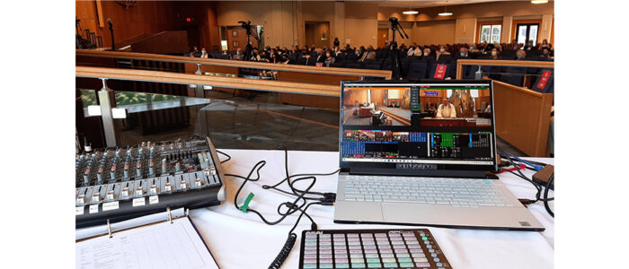 A view of LMC's live broadcast production station at Temple Emanuel